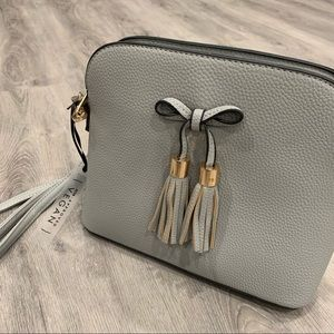 Vegan Gray Over the Shoulder Purse with Bow